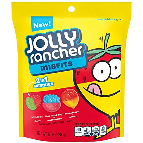 Jolly Rancher Misfits 2 in 1 Gummies Candy 8 oz Resealable bag - Pack of 6 ()