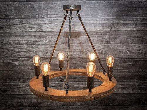 Lámpara de techo de estilo rústico (Madera Maciza Roble Loft ...