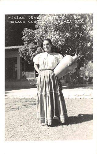 Oaxaca Mexico native woman traditional attire pottery jug real photo pc Z29967