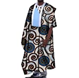 Tootless Mens Batik Gowns Plus Size African Floral Short Sleeve T Shirts Ten L