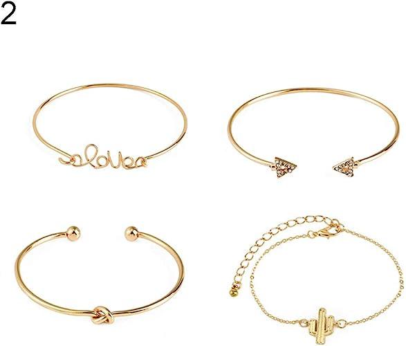 4Pcs Ladies Leaf Knot Diamond Pendant Gold Opening Bracelet Bangle for Women
