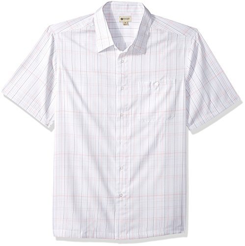(Haggar Men's Big&Tall Short Sleeve Microfiber Woven Shirt, White/foil, Large)