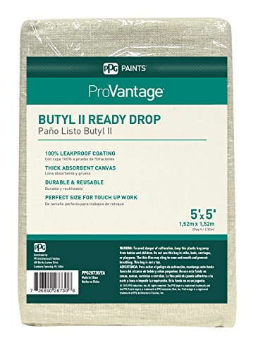 ProVantage Butyl II Ready Dropcloth, 5' x 5', Perfect Dropcloth for Touch Ups and Quick Applications