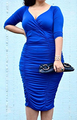 Size Women Comfy Package V Blue Tunic Hip Dress Exotic Deep Solid neck Plus ESwwaHq
