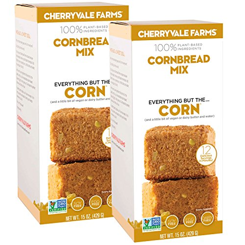 Cherryvale Farms, Cornbread Baking Mix, Everything But The Corn, Add Fresh Produce, Tastes Homemade, Non-GMO, Vegan, 100% Plant-Based, 15 oz (pack of 2)