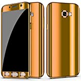 samsung galaxy a5 2017 for Samsung Galaxy A5 2017   A7 2017 case Ultra Slim Electroplate 360 Degree Full Body Thin Cover Protection Mirror Case with Tempered Glass Screen (A5 2017, Gold)