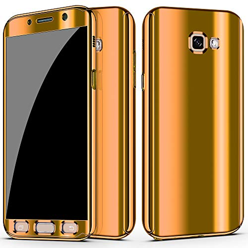 for Samsung Galaxy A5 2017   A7 2017 case Ultra Slim Electroplate 360 Degree Full Body Thin Cover Protection Mirror Case with Tempered Glass Screen (A5 2017, Gold)