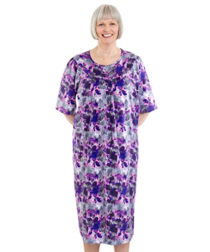 Silvert's Adaptive Open Back Dress - Caregiver Assisted Dressing - Floral Ink XL ()