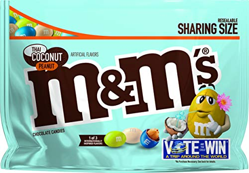 M&M's Chocolate Candy Flavor Vote Thai Coconut Peanut Sharing Size, 9.6 Ounce Bag]()