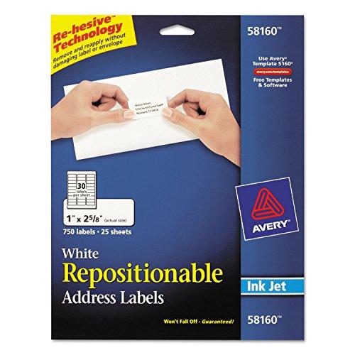 AVERY-DENNISON 58160 Repositionable Address Labels for Inkjet Printers, 1 x 2 5/8, White, 750/Box