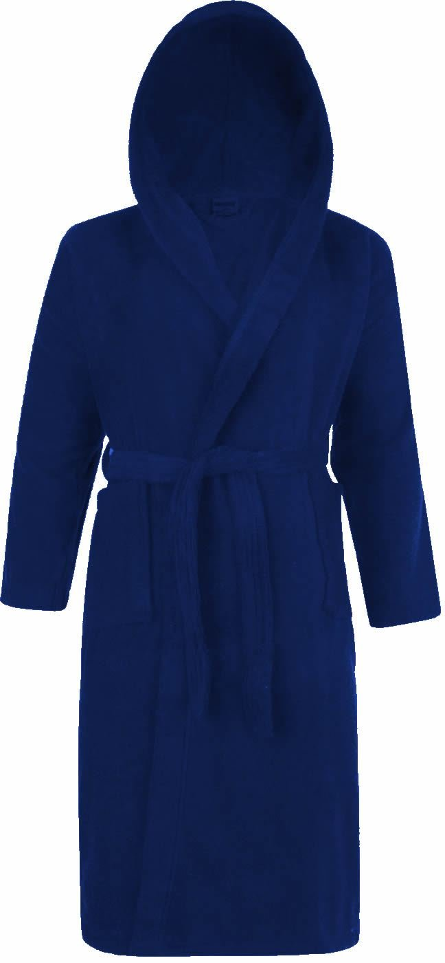 Ex-Store 100% Cotton Terry Towelling Hooded Shawl Collar Royal Blue Bathrobe Dressing Gown