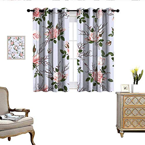QianHe Bedroom Curtains Roses Bouquet Delicate Flowers Buds and Twigs Living Room Dining Room Kids Youth Room Window Drapes W63 x L63