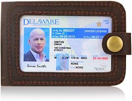Secret Felicity Men's Handmade Leather Front Pocket Wallet ID Card Case(SF705)