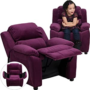 Flash Furniture Deluxe Padded Contemporary Purple Microfiber Kids Recliner with Storage Arms