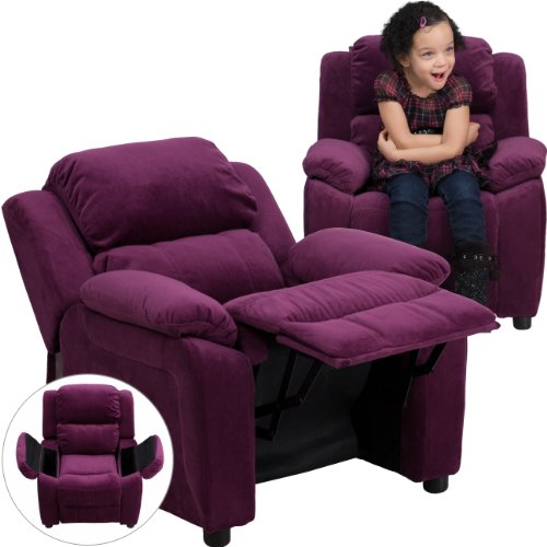 Winston Direct Kids' Series Deluxe Padded Contemporary Purple Microfiber Recliner with Storage Arms by Winston Direct