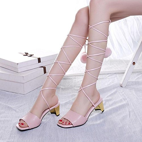 Leg Heels Stunning Summer Lace Can Shoes Leather Toe Size pink Customized Open Women Pumps 42 33 Be GLTER Cold xqRv8FW
