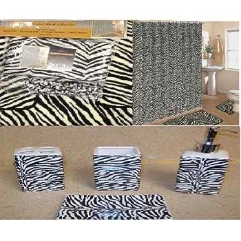 19pcs Bath Accessory Set Lovely White Zebra Print Bathroom Rugsu0026 Shower  Curtain!