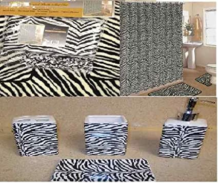 19pcs Bath Accessory Set Lovely White Zebra Print Bathroom Rugsu0026 Shower  Curtain!