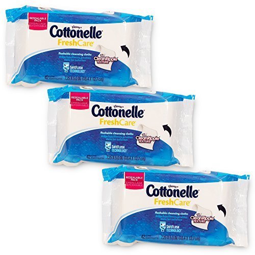 Cottonelle Flushable Wipes Value Pack -- 126 Wipes (3 Resealable Packs of 42 Flushable Wipes)