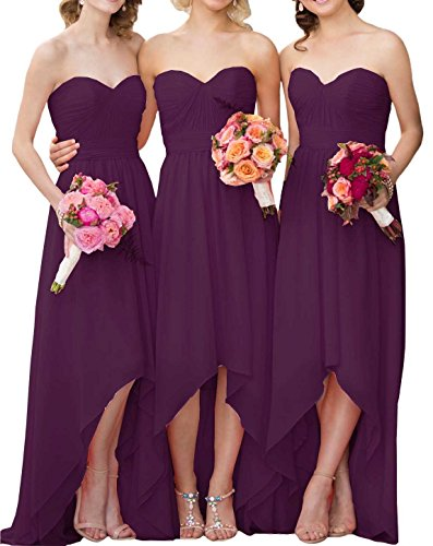 Bridesmaid Low Sweetheart Gowns Prom Dresses High Maxi Chiffon Grape Cdress Evening Dress Party qwA4xtdAE