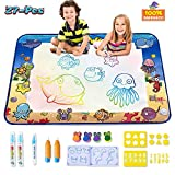 CPSYUB AquaDoodle Drawing Mat,Large Size 4028 inches Kids Toys with Colorful Aqua Magic Mat,Toddlers Water Drawing Doodle Board with 5 Magic Pens and 16 Molds,Kids Educational Toy Gift for Boys Girls