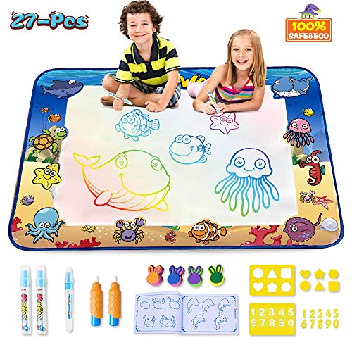 CPSYUB AquaDoodle Mat,Large Size 40x28 inches Kids Toys with Colorful Aqua Magic Mat&Water Drawing Doodle Mat,Educational Kids Toys for Age 1 2 3 4 5 6 7 8 9 10 11 Year Old Boys Girls Age Toddler Gift