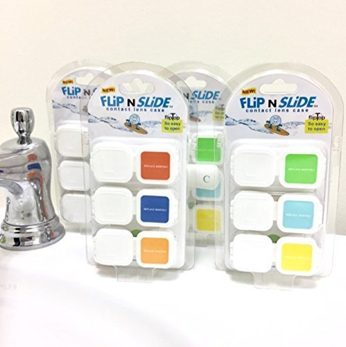 Flip n Slide, Contact Lens Case, Flip Top, (four 3-packs, 12 cases)