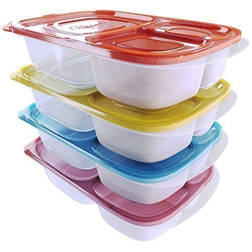 Reusable Lunch Containers for Kids and Adults Bento Box 3 Compartment Meal Prep with Dividers Food Storage With Lids Set of 4 by Kascade