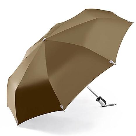 LXY Paraguas retráctil automático Completo Plegable Doble Tres Paraguas Plegable Paraguas (Color : Amarillo)