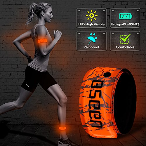 BSEEN LED Armband, 2nd Generation Heat Sealed Patented Led Slap Bracelet Glow in The Dark, Sports Safety Armband for Running, Cycling, Hiking(Orange-Design II)