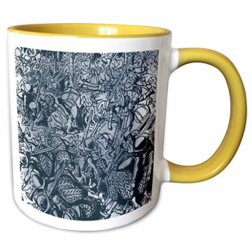 3dRose PS Vintage - All the Kings Horses and All the Kings Men Vintage - 15oz Two-Tone Yellow Mug (mug_110217_13)
