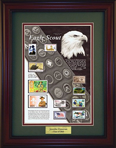 American Stamp Art by Creative Framing Eagle Scout - Unique Framed Collectible (A Great Gift Idea) with Personalized Engraved Plate -