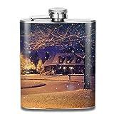 Christmas Christmas Wallpaper Holiday Liquor Hip flask Stainless Steel Shot flasks Leak Proof Cool Gift For Men 7oz