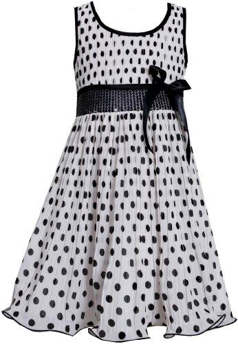 Bonnie Jean Little Girls 4-6X Black White Sequin Waist Crystal Pleat Dotted Chiffon Dress, Black/White, 6