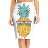 Pineapple Sunset View Glasses Women's Fashion Printed Pencil Skirt