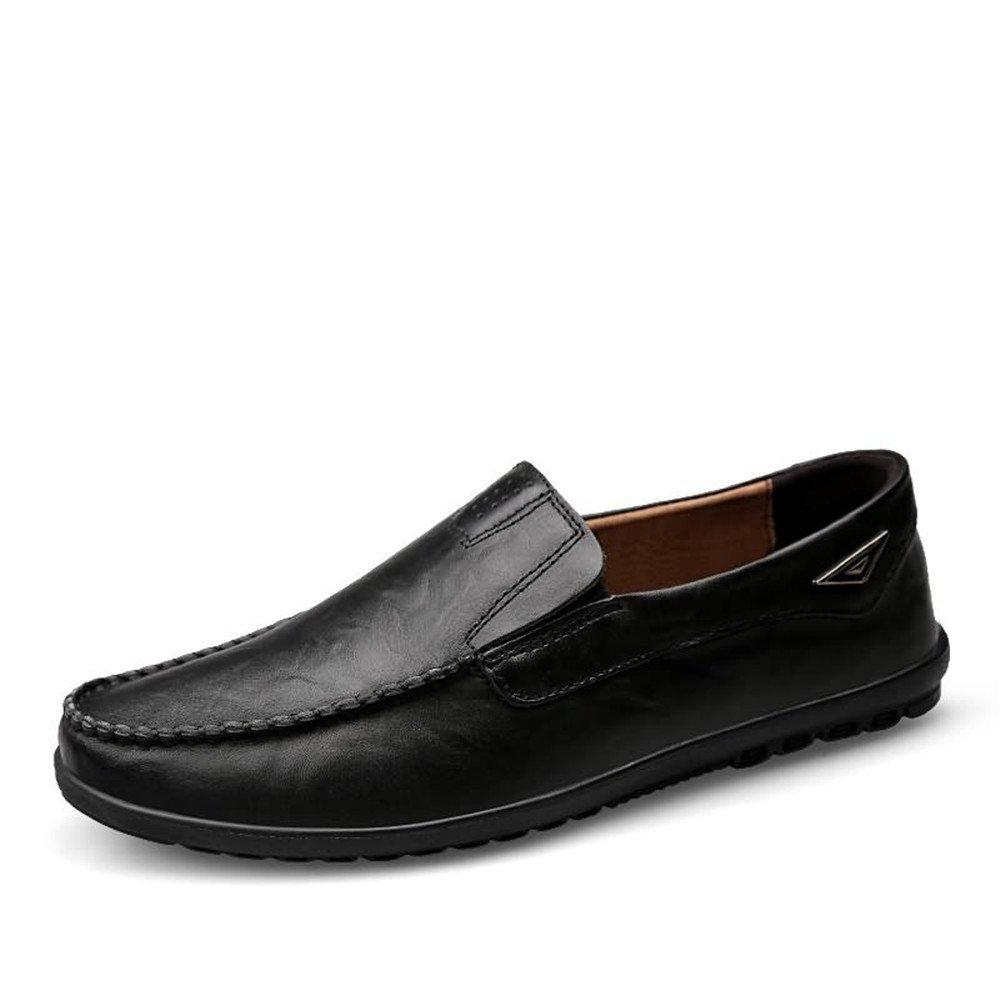 Resbalón Casual de Cuero Genuino de los Hombres Sobre los Holgazanes Zapatos de conducción Respirables Zapato de Moda 46 EU|Negro