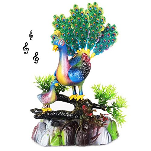 (Singing and Dancing Peacock Party Favor Figurine | Decorative Party Centerpiece Dance and Song Bird for Festive Occasions | Birthdays | Graduations | Battery Operated Dazzling Toys Singing Bird.)