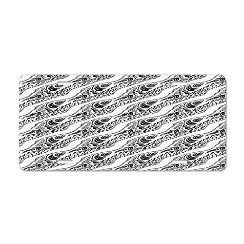 Abstract,Animal Skin Patterns Monochrome Zebra Panther Lion and Other African Creatures,Black White Customized Aluminum Metal License Plate Decorative Front License Plate, Vanity Tag 6
