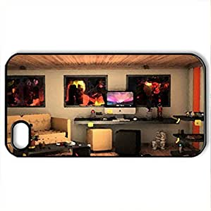 3D - Case Cover for iPhone 4 and 4s (Houses Series, Watercolor style, Black)