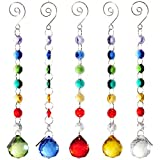 H&D 30mm Crystal Ball Prism Rainbow Maker Collection Hanging Suncatcher Wedding Favors (Set  5pcs)