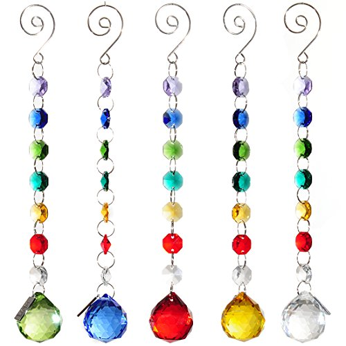 H&D 30mm Crystal Ball Prism Rainbow Maker Collection Hanging Suncatcher Wedding Favors (Set  5pcs) by H&D