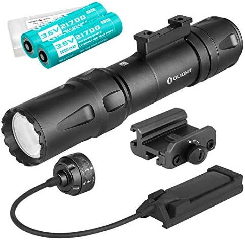 OLIGHT Odin 2000 Lumen Rechargeable Rail Mount Tactical Flashlight with Two 5000mAh Batteries, Pressure Switch, and LumenTac Battery Case