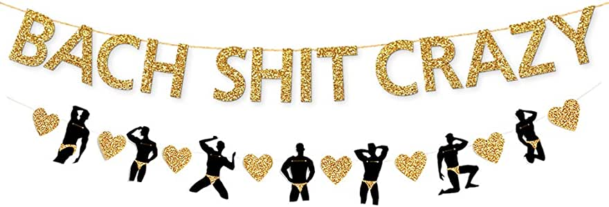 PartyForever Gold Bach Crazy Bachelorette Party Decorations Banner (Pre-Strung) - Hen Party Decorations Banner Sign for Bridal Shower and Bridal Party Supplies and Accessories