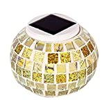Solar Powered Mosaic Table Lights, OWIKAR Color Changing Solar Table Lamps Waterproof Solar Outdoor LED Lights for Christmas,Home,Yard, Patio,Ideal Gifts (Gold)