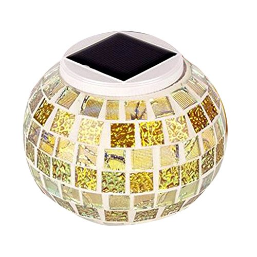 Solar Powered Mosaic Table Lights, OWIKAR Color Changing Solar Table Lamps Waterproof Solar Outdoor LED Lights for Christmas,Home,Yard, Patio,Ideal Gifts (Gold) by OWIKAR