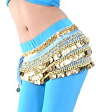 BellyLady Multi-Row Gold Coins Belly Dance Skirt Wrap & Hip Scarf, Gift Idea-Lake Blue
