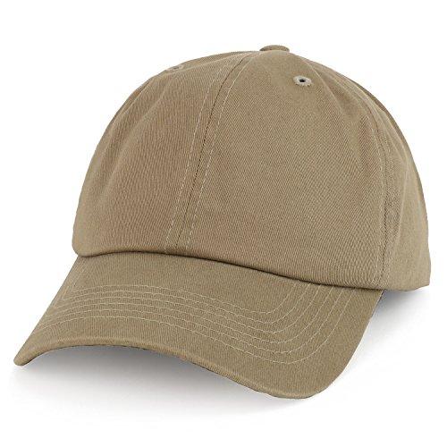Trendy Apparel Shop Oversize XXL Plain Unstructured Soft Crown Cotton Dad Hat - Khaki