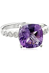 Sterling Silver Amethyst Cushion Cut Diamond Ring (1/10cttw, I-J Color, I2-I3 Clarity), Size 7
