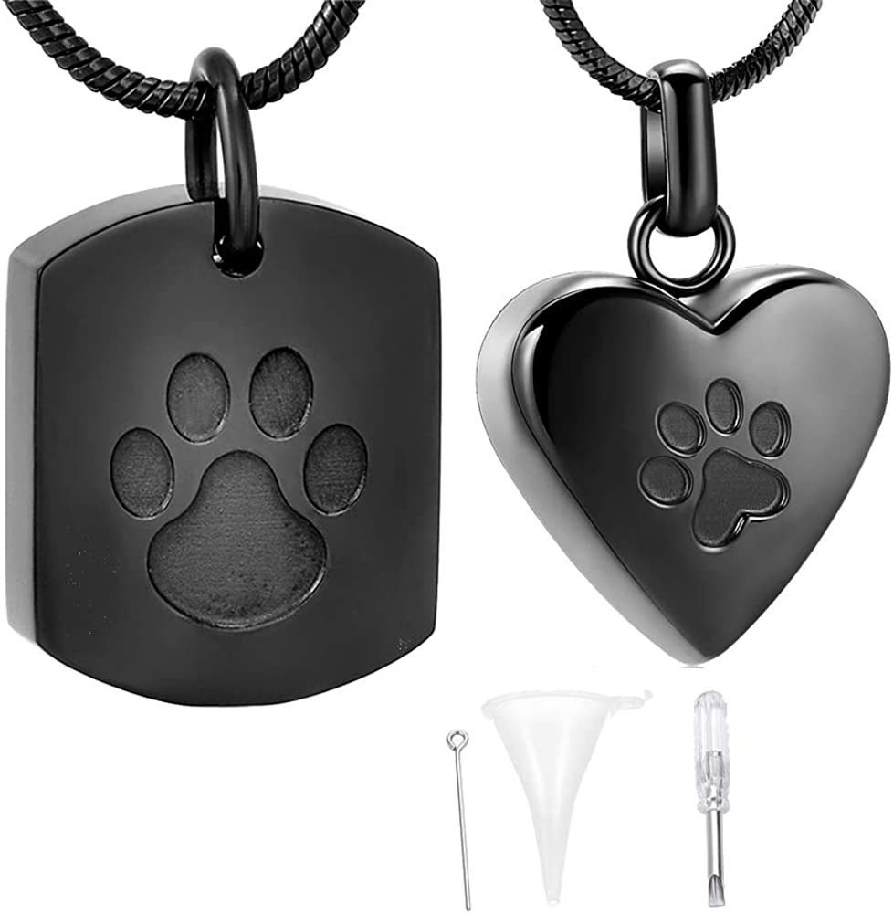 TIANZXS Cylinder Pet Urn Keepsake Jewelry Dog Cat Memorial Urn Pendant Stainless Steel Pet Paw Urn Necklace for Animal Ashes Holder