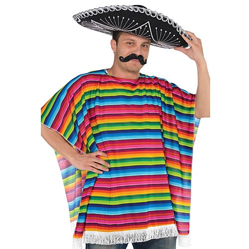 Fiesta Cinco De Mayo Striped Multicolored Fabric Serape | Party Costume]()